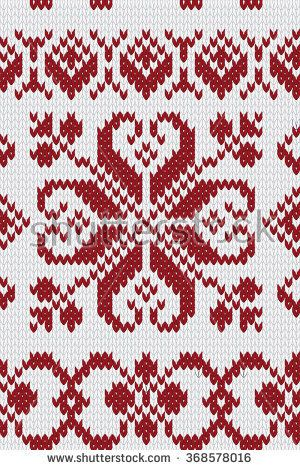 Knitted pattern in red&white colours