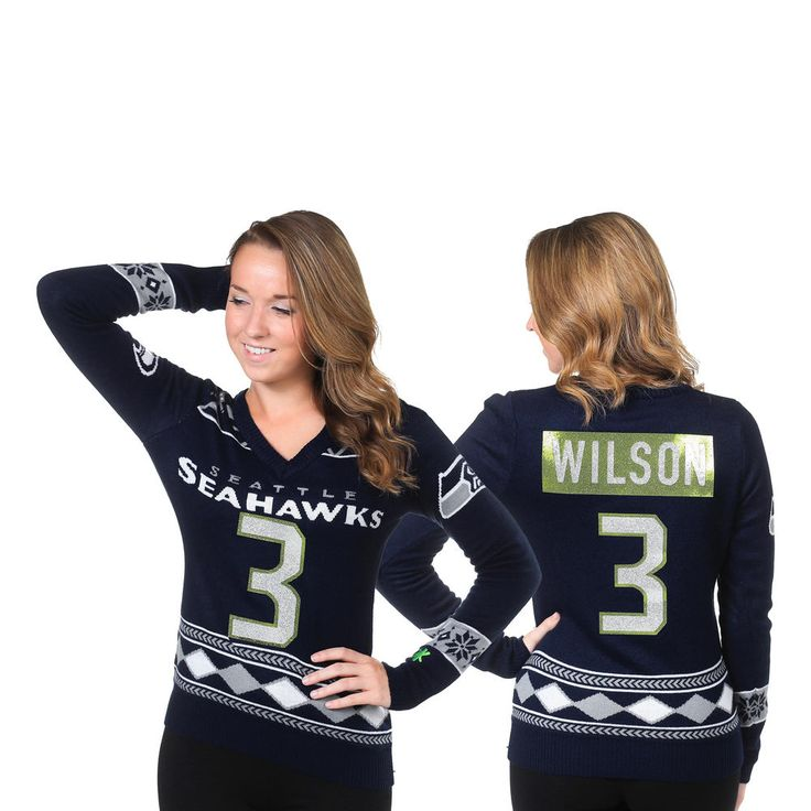 Women's Klew Russell Wilson College Navy Seattle Seahawks Name and Number Ugly V-Neck Sweater