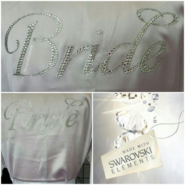 Custom Satin Bridal Robes embellished with Genuine SWAROVSKI® ELEMENTS. Available in 5 colours, any crystal colour and any wording   Please Email info@itscrystalicious.com or www.itscrystalicious.com to order   #swarovskielements #swarovski #bride #bridal #bridetobe #bridesmaids #crystalicious #custom #couture #diamonds #designer #fashionista #fashionblogger #flowergirl #gift #handmade #ido #marriage #newlywed #princess #sparkle #stylist #wedding