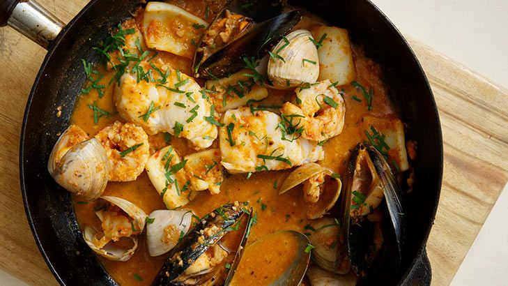 Romesco sauce lays the foundation for this superb rockling and shellfish dish from Frank Camorra. Share it around!