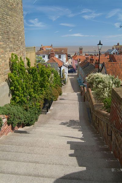 Steps leading down to the beach in Aldeburgh, Suffolk, England