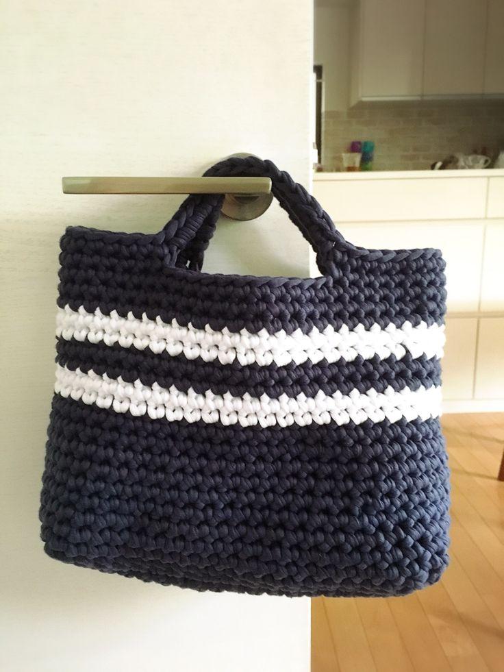 T shirt yarn border tote bag