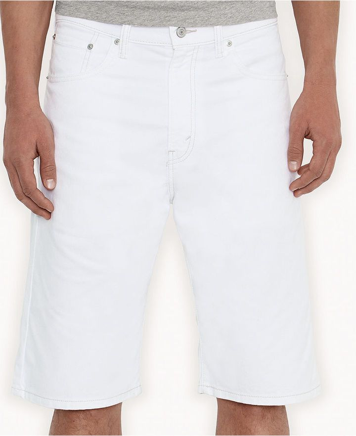 $24, White Denim Shorts: Levi's 569 Loose Straight Fit White Bull Denim Shorts. Sold by Macy's. Click for more info: https://lookastic.com/men/shop_items/73361/redirect