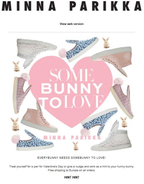 """SUB: """"Somebunny to Love"""" Originale e divertente il tema """"coniglietto"""" e ben riusciti i giochi di parole. Una buona alternativa alle classiche (e spesso noiose) newsletter di San Valentino."""