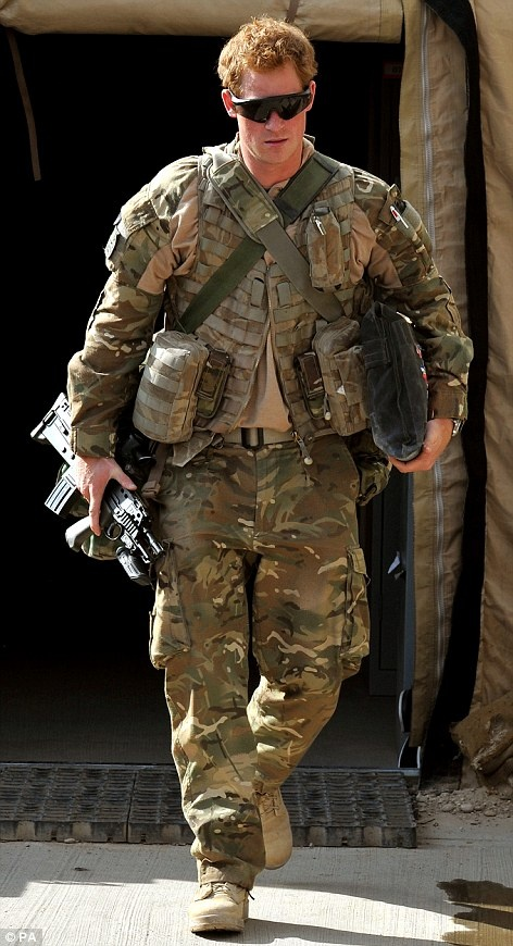 Prepared to kill: Prince Harry at Camp Bastion Here is a very real human (man)