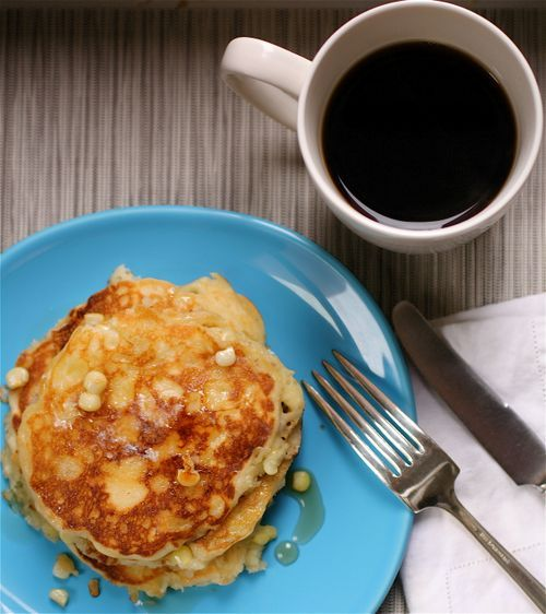 Fresh Corn Pancakes from Gourmet Magazine - eat with maple syrup for breakfast or with salsa and sour cream for dinner