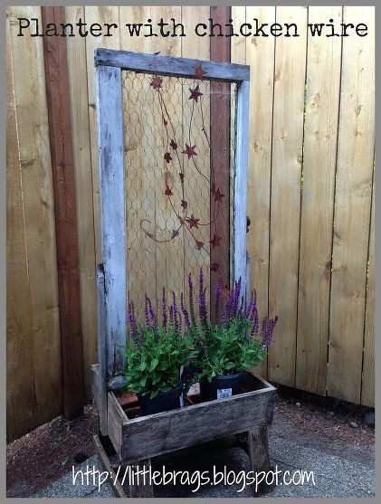 Planter with Chicken Wire ~Tons Of Outdoor Decorating Inspiration From Little Brags