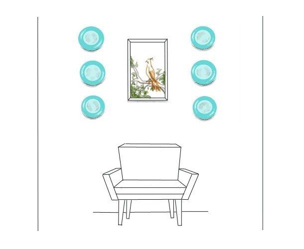 Идеи по оформлению стен декоративными тарелками