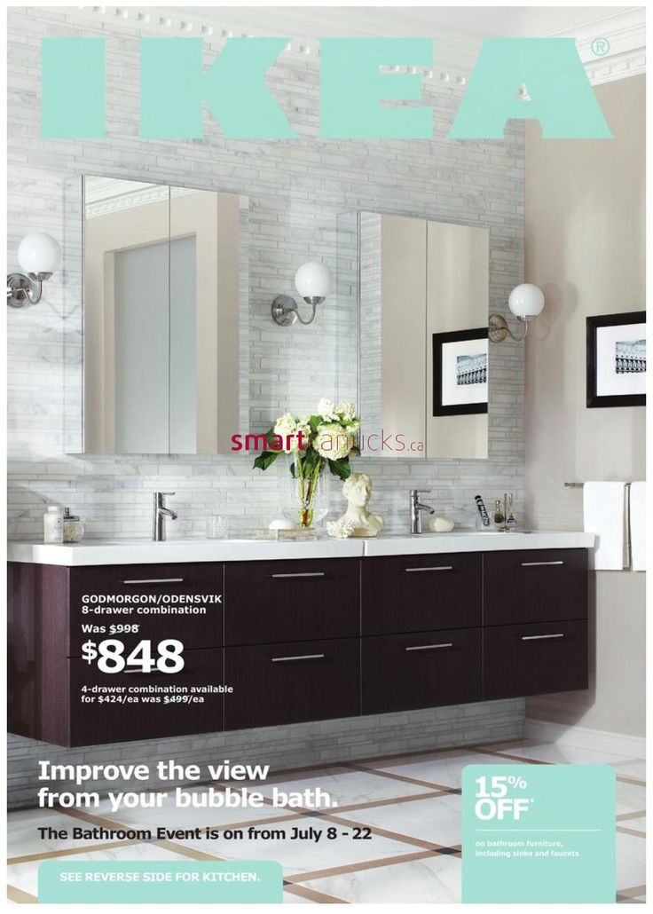 "Ikea ""Godmorgon/Odensvik"" sink cabinets with four drawers and ""Lillholmen"" wall lamps and ""Dalskar"" bath faucets and ""Godmorgon"" mirror cabinets with two doors"