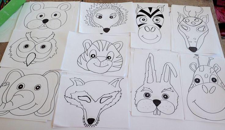 maski zwierząt do wydruku, maska misia, jeż, tygrys, pliki do pobrania.