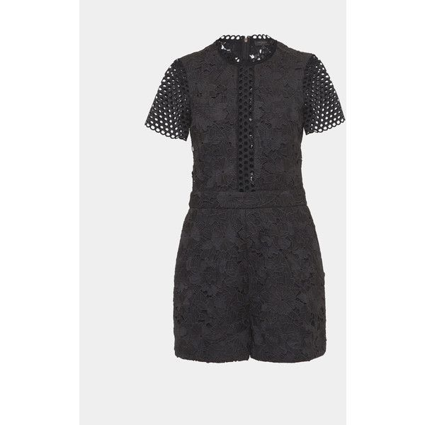 Guipure lace playsuit ($255) via Polyvore featuring jumpsuits, rompers, short sleeve romper, zipper romper, lace romper, ted baker and lace rompers