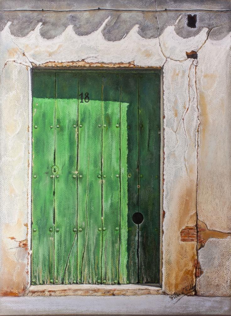 """Pilar S. Robles. Puerta  de Torres del Carrizal (Zamora). Pastel 64x51.   Portada del libro de poemas """"13 puertas"""""""