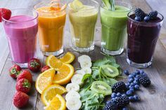 These are some delicious Thermomix rainbow smoothies. Perfect recipes to start your day in style. Think Green Pina Colada.