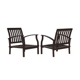 Allen roth set of 2 gatewood brown aluminum slat seat for Allen roth tenbrook extruded aluminum patio chaise lounge