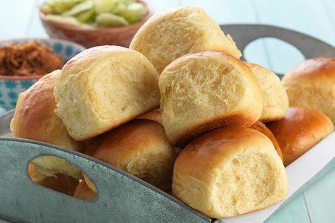Hawaiian buns, overflowing in their basket.