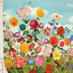 Wild Flowerland Mural - Ivory Tower Decor wallpaper, absolutely cannot get enough of these beautiful murals and strong colours, the colours are bright, but there is a soft muted quality to the overall tone of the paper.