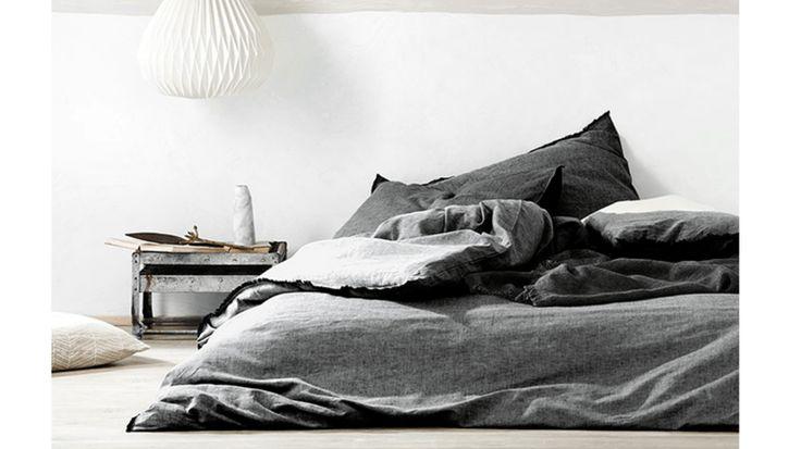 Aura Chambray Fringe Quilt Cover - Smoke | Domayne