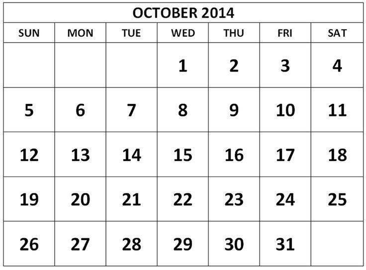 Blank October 2014 Calendar | October 2014 Calendar Printable