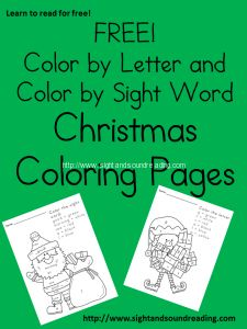 Free Christmas worksheets for kids -Great for beginning readers! Visit http://www.sightandsoundreading.com to grab them!