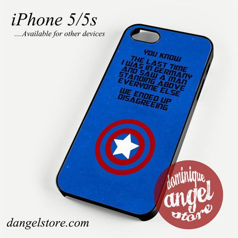 Captain America Steve's Words Phone Case for iPhone 4/4s/5/5c/5s/6/6s/6 Plus
