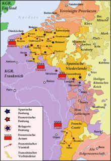 La guerra de Devolución (1667-1668) fue un conflicto bélico entre España y Francia. Se inició con la invasión de Luis XIV de Francia a los Países Bajos españoles, bajo el pretexto de que la dote de su esposa María Teresa no había sido pagada. En realidad, seguía la política de Richelieu de alejar la frontera de París a costa de los Países Bajos españoles. Por el Tratado de Aquisgrán de 1668, España recuperó el Franco Condado y cedió Lille, Tournai, Charleroi y otras plazas flamencas.
