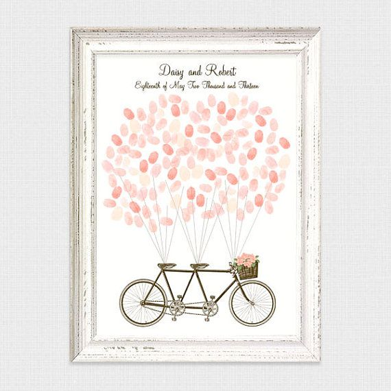 tandem bicycle fingerprint guest book printable by idoityourself
