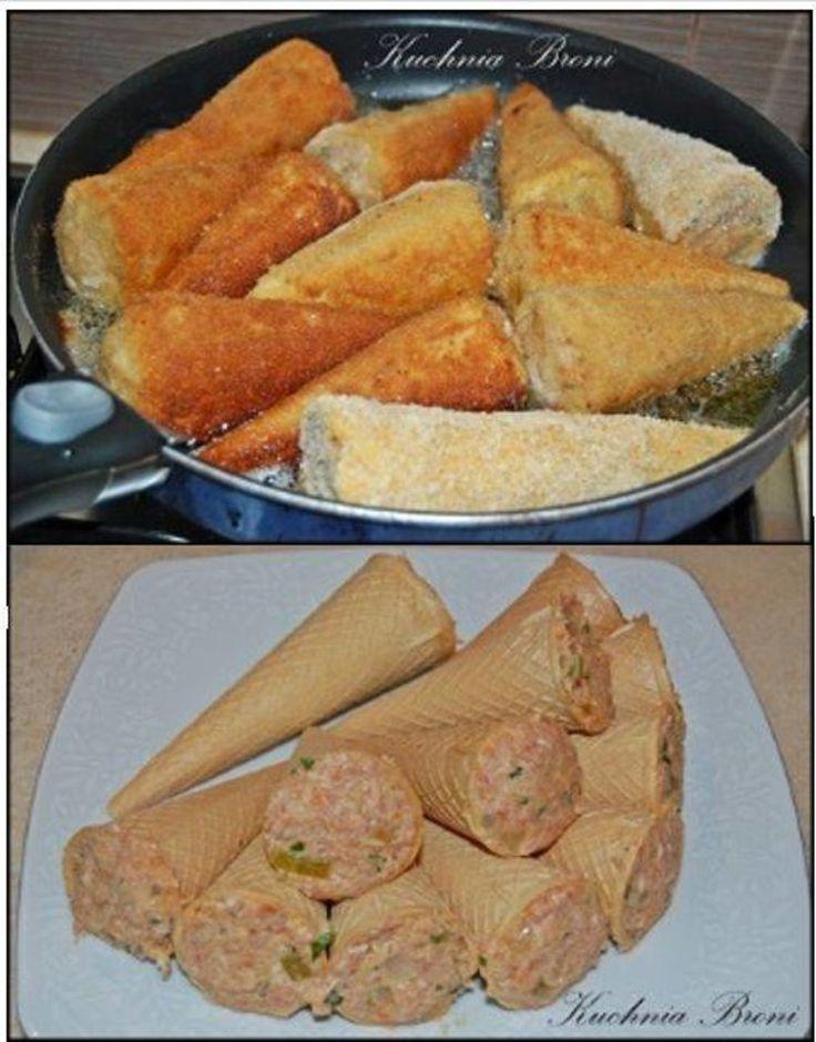 *** 'Macaroni' w/minced meat(uses waffle cones!)***Rożki z mięsem mielonym