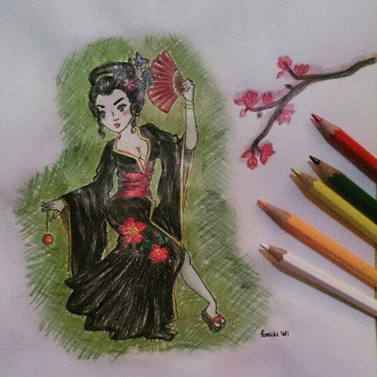 #geisha #japanese #art #hobby #draw #coloredpencils #unprofesional