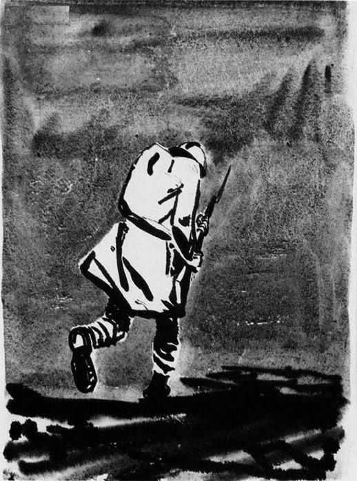 Художник Александр Дейнека. Иллюстрации. Фигура солдата с винтовкой в руках уходящего вдаль с поникшей головой. Иллюстрация к книге Анри Барбюса В огне. 1934
