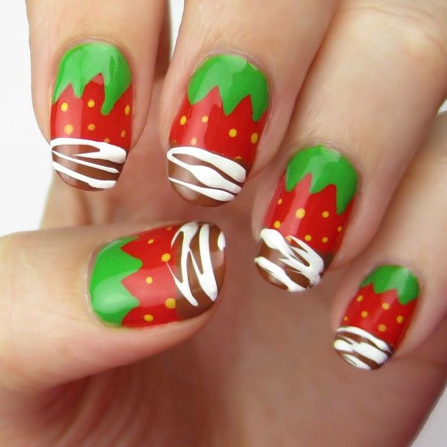 59 best nail fruits vegetables images on pinterest fruit nail strawberry nails dipped in real chocolate i have a really prinsesfo Image collections