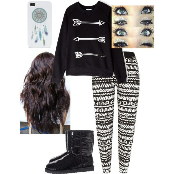 Sweater comfy leggings tribal uggs boots Iphone case makeup hair curly cute teen fashion fall winter