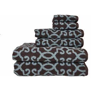 Better Homes And Gardens Jacquard 6 Piece Towel Set, Aquifer/Costa Brown
