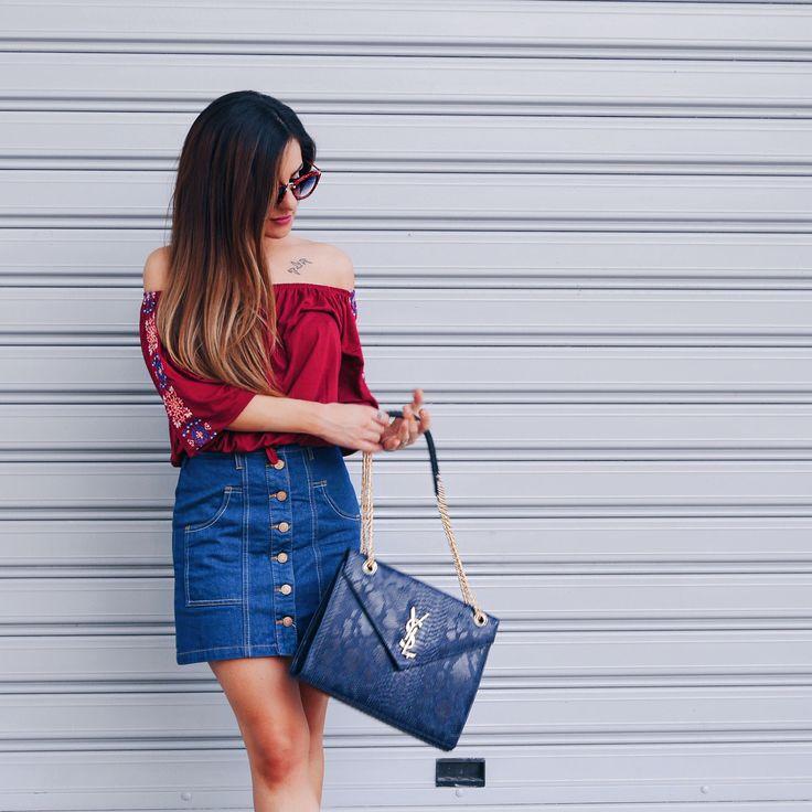Bardot top denim skirt