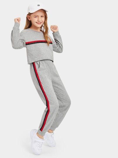 18487b79871cf3 Shop Girls Striped Tape Crop Pullover   Pants Set online. SheIn offers  Girls Striped Tape Crop Pullover   Pants Set   more to fit your fashionable  needs.