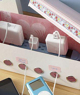 Turning a ribbon organizer into charging station