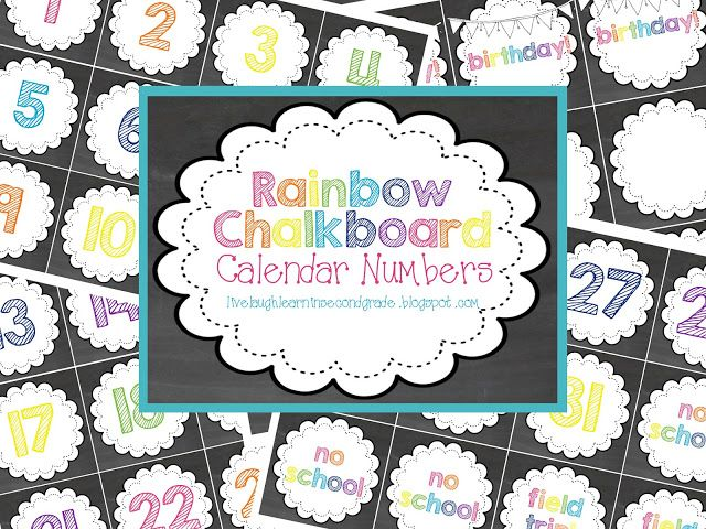 Live Laugh & Learn in Second Grade: Free for All: Rainbow Chalkboard Calendar Numbers & Months of the Year