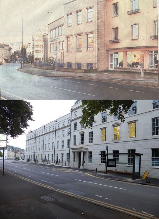 Green Park House day centre as it looked and now in 2016, Bath Spa student accommodation. Much better looking!
