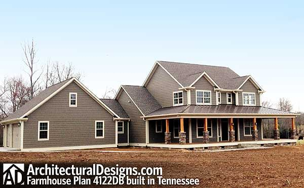 Check out Farmhouse Plan 4122DB built by Pam in Tennessee!