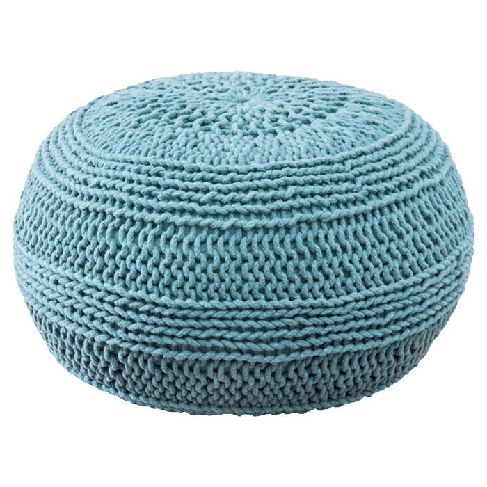 Aqua cable knit pouf