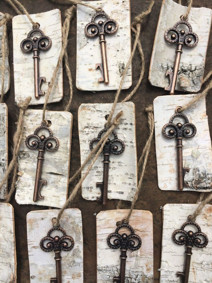 Antique Vintage Key Bottle Openers with birch bark tags Rustic Wedding Favor | H…
