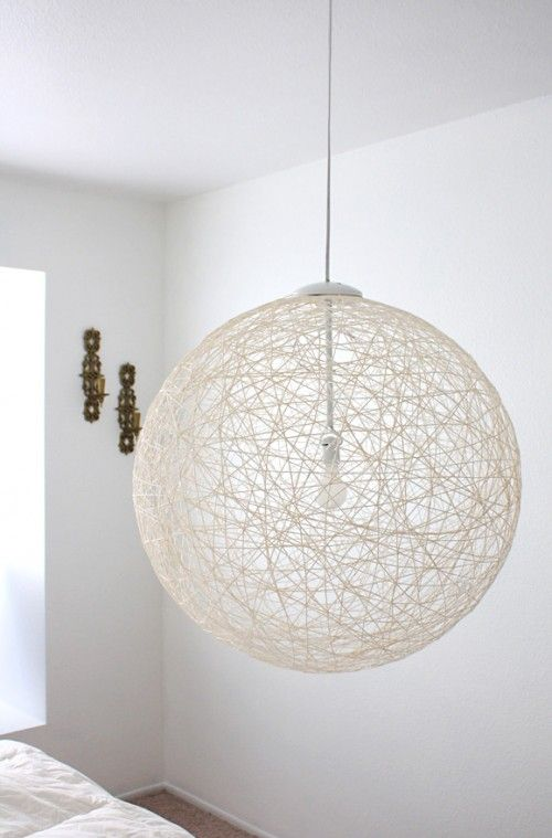 10 Cool DIY Pendant Lamps Suitable For Modern Interiors   Shelterness has Lots of cute lamp ideas. I like the big size. Could use yarn or I like the idea of a skinny thread to add dimension.