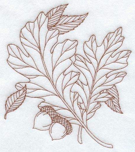 White Oak Leaves (Redwork)