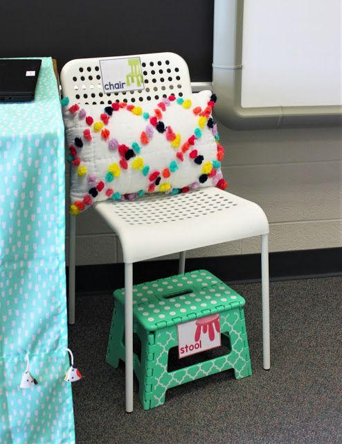 Teacher chair with pom pom pillow