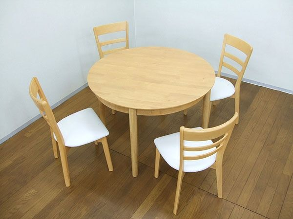 Dining Table 丸ダイニングテーブルセット5点105kapuruナチュラル軽量北欧無垢 インテリア 雑貨 家具 Modern ¥44600yen 〆10月11日