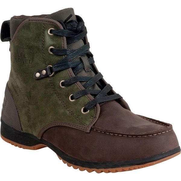 Sorel Ankeny Moc Toe Men's Winter Boot M Boot (€125) ❤ liked on Polyvore featuring men's fashion, men's shoes, men's boots, green, mens boots, mens lace up boots, mens lace up shoes, mens waterproof winter boots and sorel mens boots