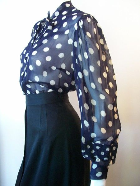 30s blouse polka dot blouse vintage clothing vintage...I have always been a sucker for polka dots!!