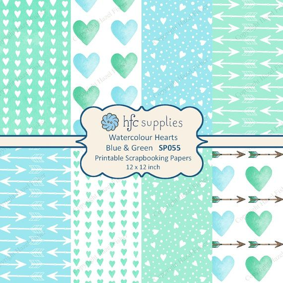 Watercolour Hearts Blue and Green Patterned Paper Set, Printable Scrapbooking Papers by hfcSupplies on Etsy