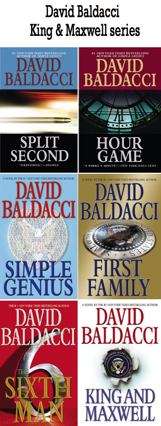 David Baldacci books King & Maxwell series  http://www.mysterysequels.com/david-baldacci-books-in-order