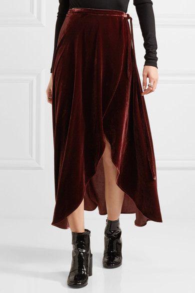 Burgundy velvet  Ties at side  82% rayon, 18% silk Dry clean