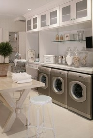 laundry.. I've always wanted 2 washers and one dryer. one for only whites and darks. No wait: Laundryrooms, Ideas, Dream Laundry, Mudroom, Folding Table, Dream House, Mud Room, Laundry Rooms